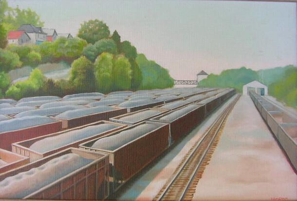"""""""Coal cars"""", 12x18, oil on canvas"""