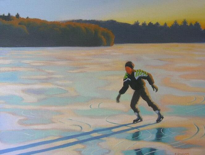 """Skater"", 16x20, oil on canvas"