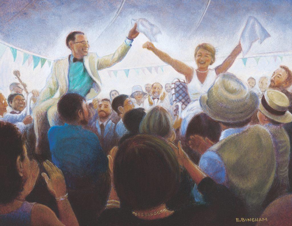 """The Wedding"", 8x10, egg tempera"