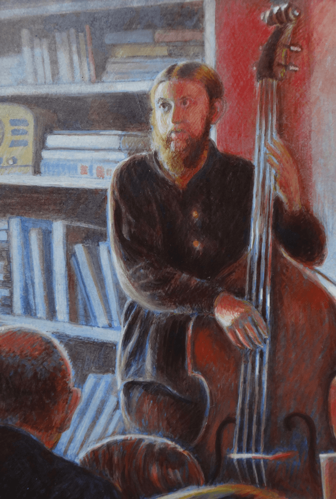"""Dan at Mocha Maya's"", 8x10,  egg tempera"