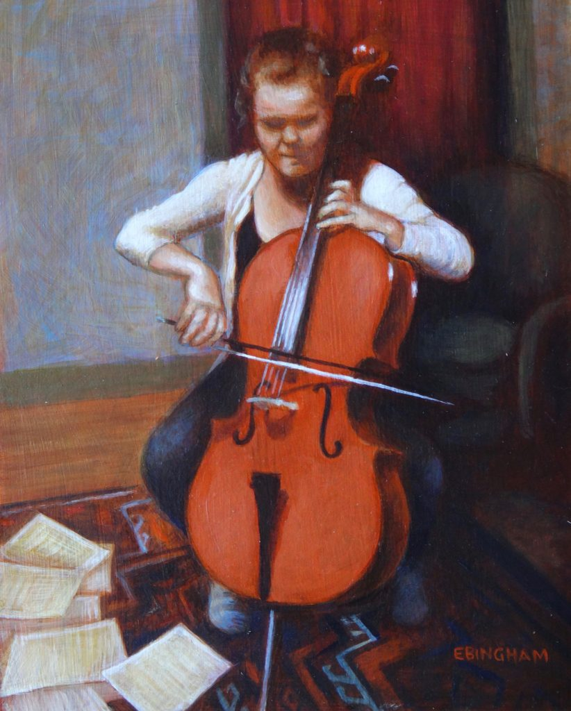 """Charlotte and Cello"", 9x12, oil on board"
