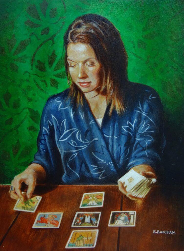 """""""The Fortune Teller"""", 9x12, egg tempera"""