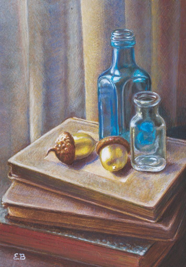 """""""Golden Acorns"""", 5x7, egg tempera"""