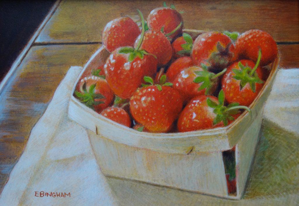 """""""Shana's Strawberries"""", 5x7, egg tempera"""