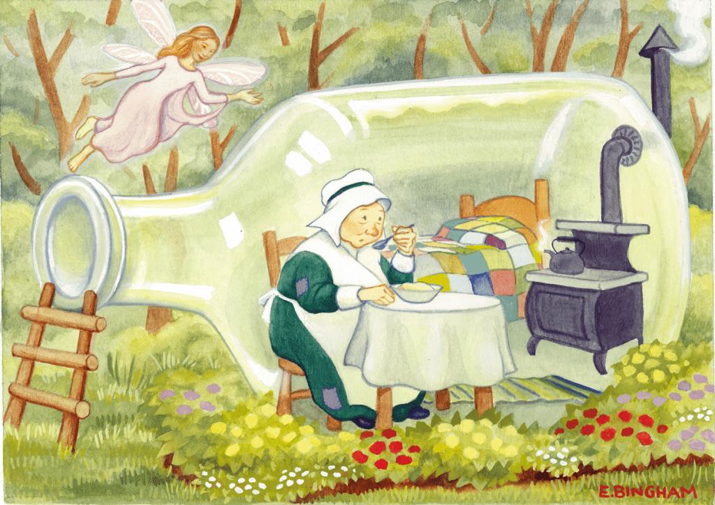 """""""The Old Lady in a Vinegar Bottle"""", Gouache"""