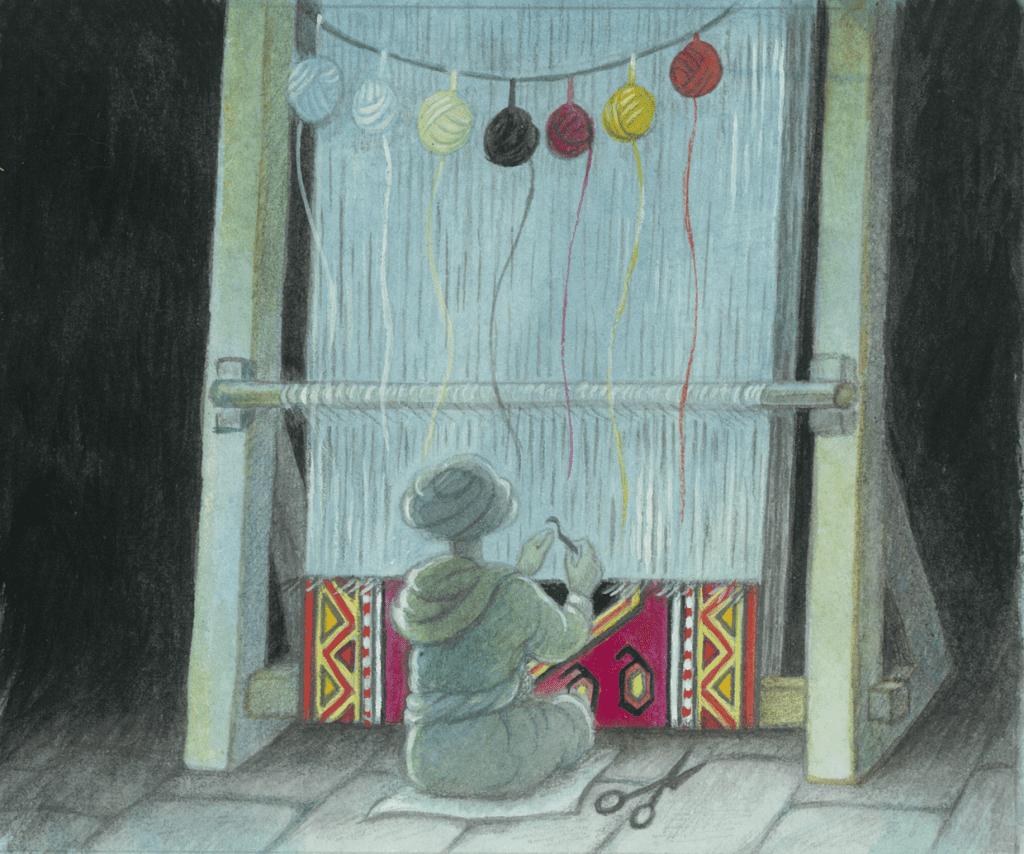 """The Carpet Weaver"", Gouache"